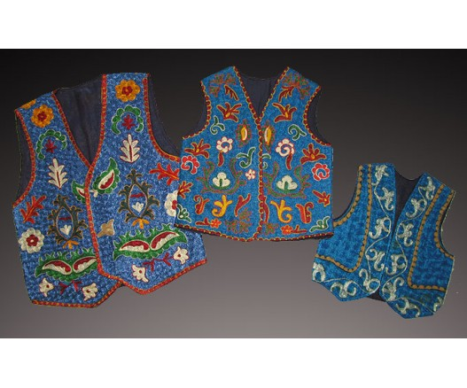 3 NATIONAL UZBEK EMBROIDERED SILK VESTS 3619