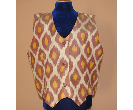 Women Ikat Aldras silk handmade fabrick Vest 7473- 7890