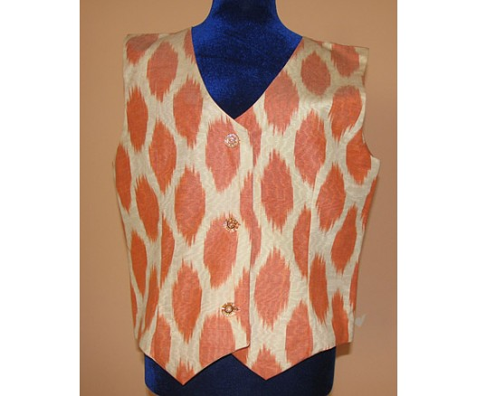 Women Ikat Aldras silk handmade fabrick Vest 6360- 7892