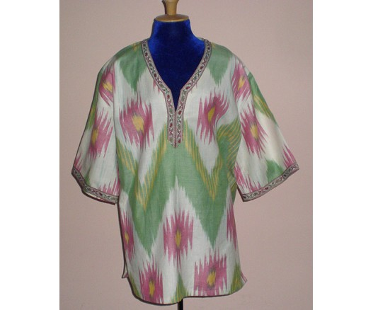 HAND MADE COTTON IKAT T-SHIRT UZBEK CLOTHES 7302-7811