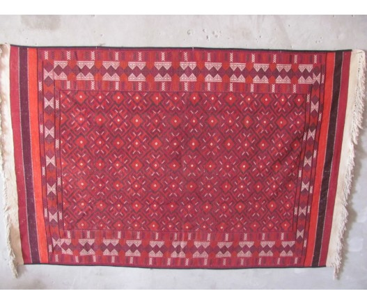 ANTIQUE UZBEK WOOLEN SUMAK RUG ORNAMENT FOR UYRTA 9066
