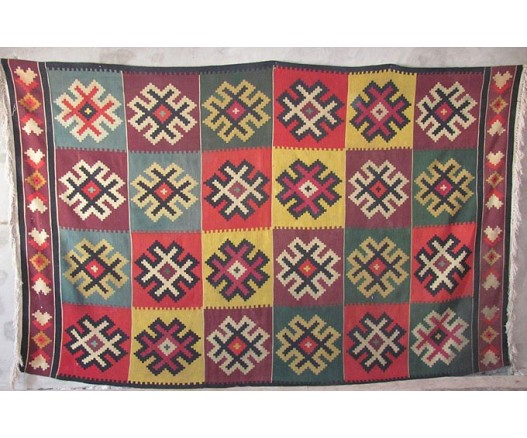 ANTIQUE UZBEK WOOLEN SUMAK RUG ORNAMENT FOR UYRTA 9055