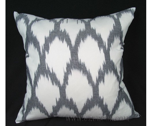 UZBEK IKAT COTTON DECORATIVE PILLOW CUSHION INSIDE FEATHERS 8566
