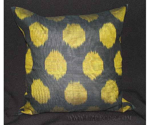 UZBEK IKAT ADRAS DECORATIVE PILLOW CUSHION INSIDE FEATHERS 7402