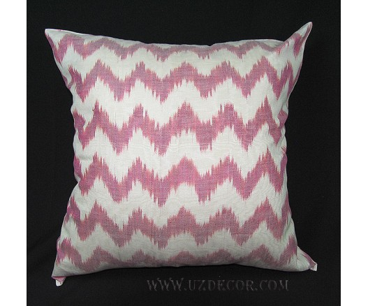 UZBEK IKAT ADRAS DECORATIVE PILLOW CUSHION INSIDE FEATHERS 7828
